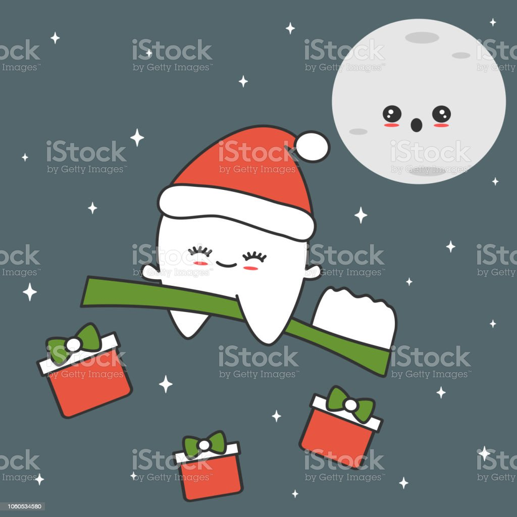 cute cartoon tooth with santa hat flying on toothbrush in the starry night funny christmas vector illustration vector art illustration