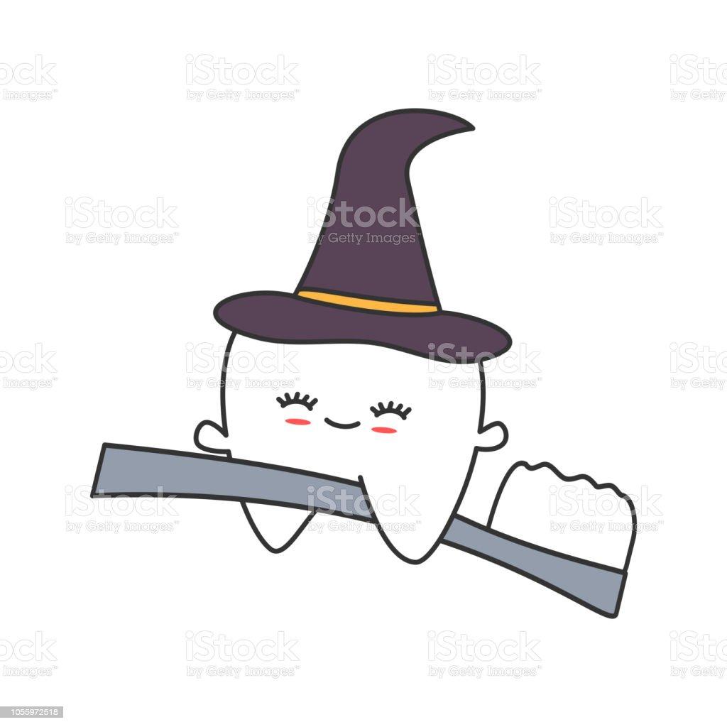 6ed13b5303 Vetores de Dente Bonito Dos Desenhos Animados Com Chapéu De Bruxa ...