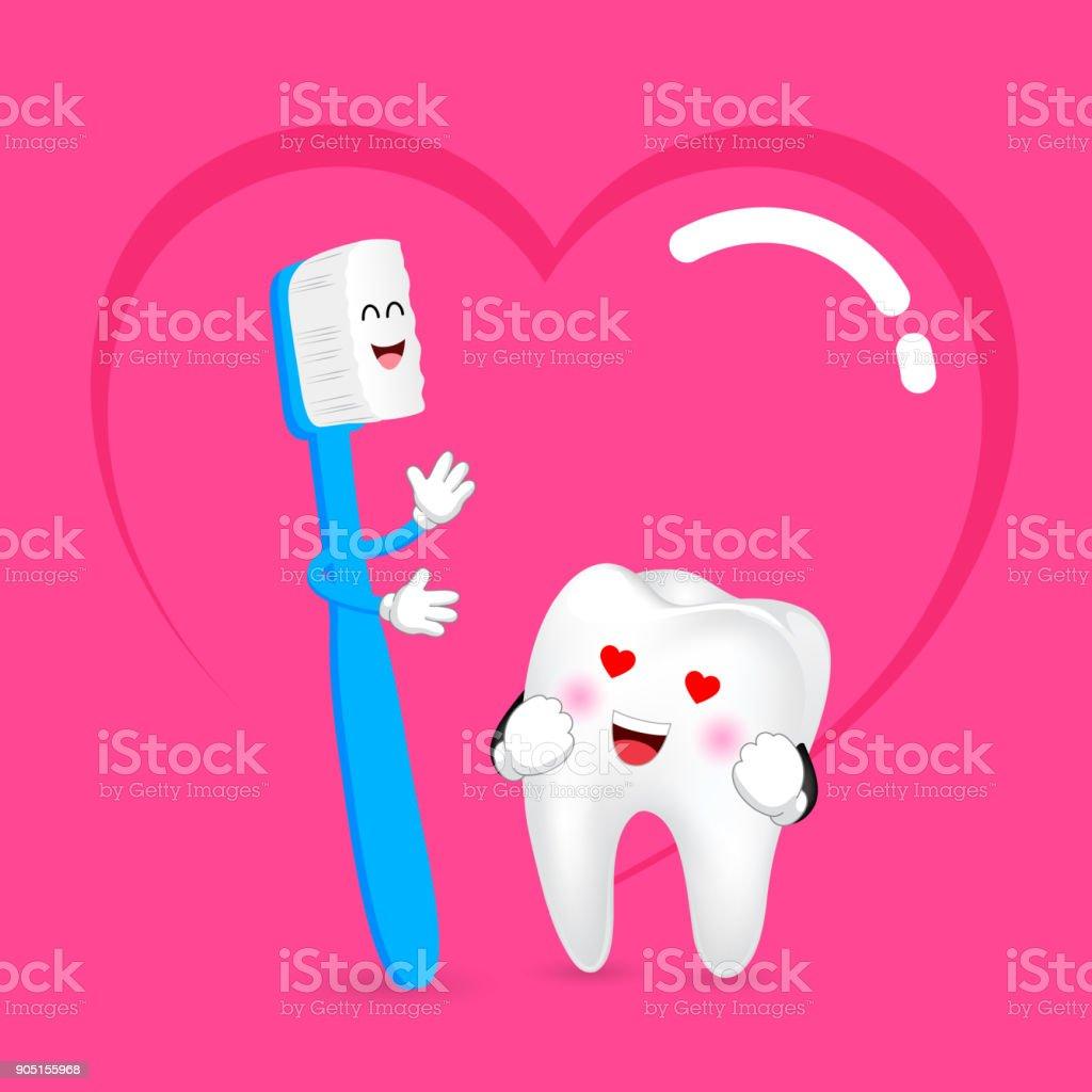 3ede10c46 Escova de dentes bonito dos desenhos animados e dente no amor. vetor de  escova de
