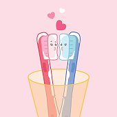 cute cartoon toothbrush with love