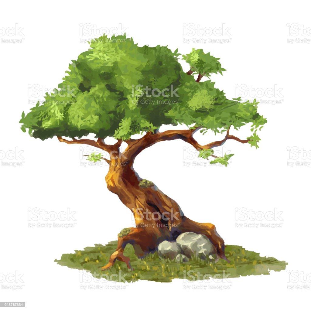Cute cartoon tree on grass, game art element vector art illustration
