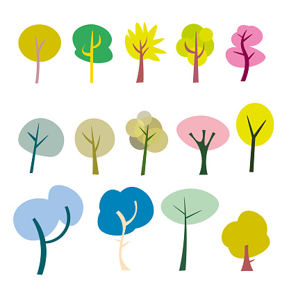 Cute cartoon trees collection