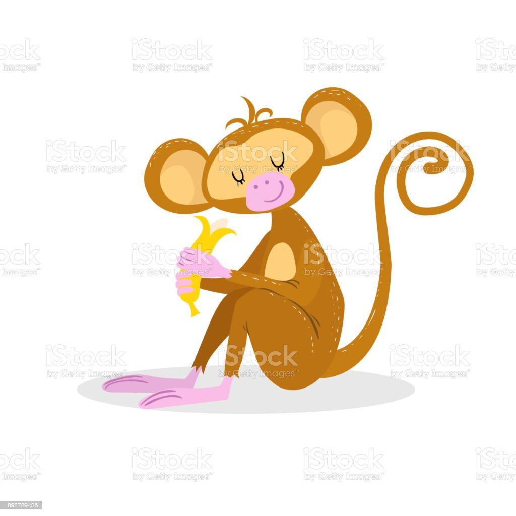 小猿はバナナを楽しむかわいい漫画のトレンディなデザインは目を閉じた