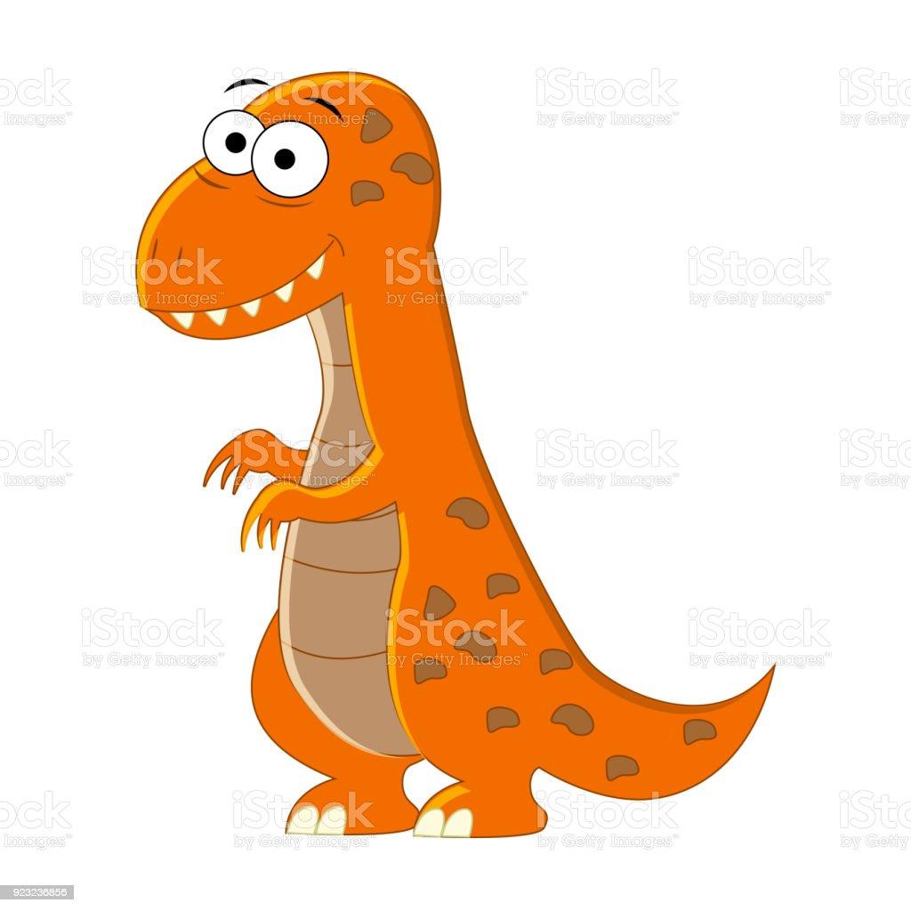 Sevimli çizgi Trex Izole Dinozor Vektör çizim Stok Vektör Sanatı