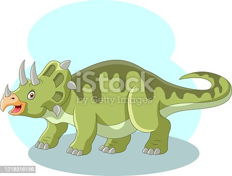 Vector illustration of Cute cartoon triceratops  is screaming