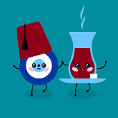 Cute Cartoon Turkish evil eye, tea in a glass and Turkish red hat fez. Kawaii symbol of protection in Turkey. Blue Turkish Fatima's Eye. Amulet from evil eye. Nazar. Magic item, attribute