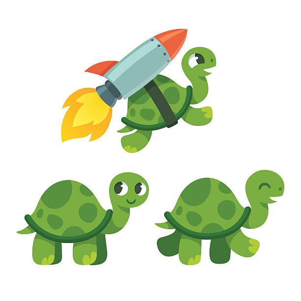 Cute cartoon turtle Cute cartoon turtle set. Standing, walking and rocket flying. Funny vector illustration. turtle stock illustrations