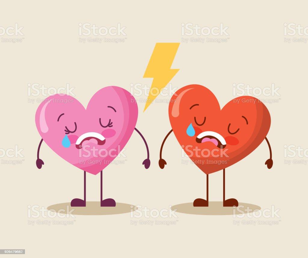 Ilustración De Cute Dibujos Animados Dos Corazones Amor Grito Triste