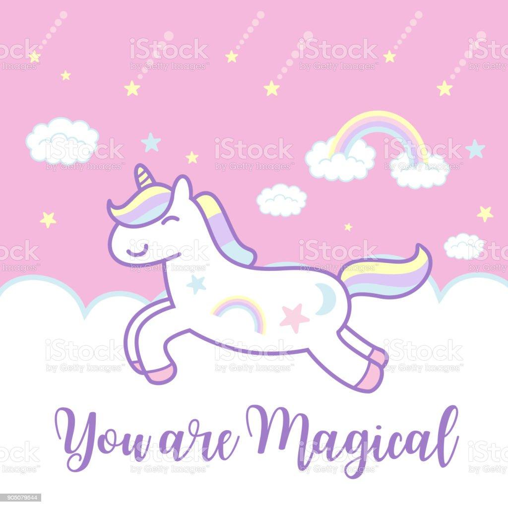 Cute Cartoon Unicorn Banner Vector Illustration Stock Illustration -  Download Image Now