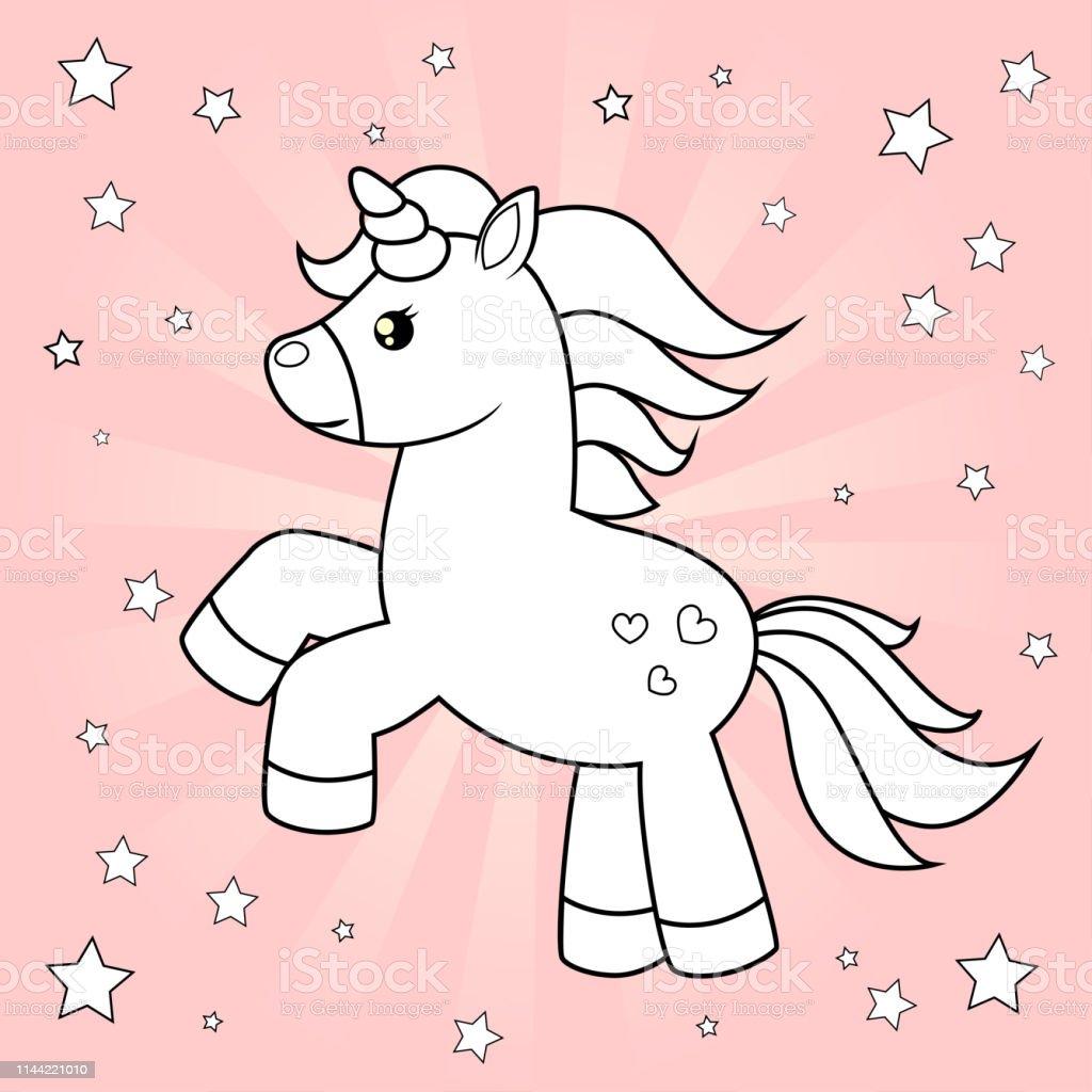 Lucu Kartun Unicorn Ilustrasi Vektor Hitam Dan Putih Untuk Mewarnai Buku Di Latar Belakang Merah Muda Ilustrasi Stok Unduh Gambar Sekarang Istock