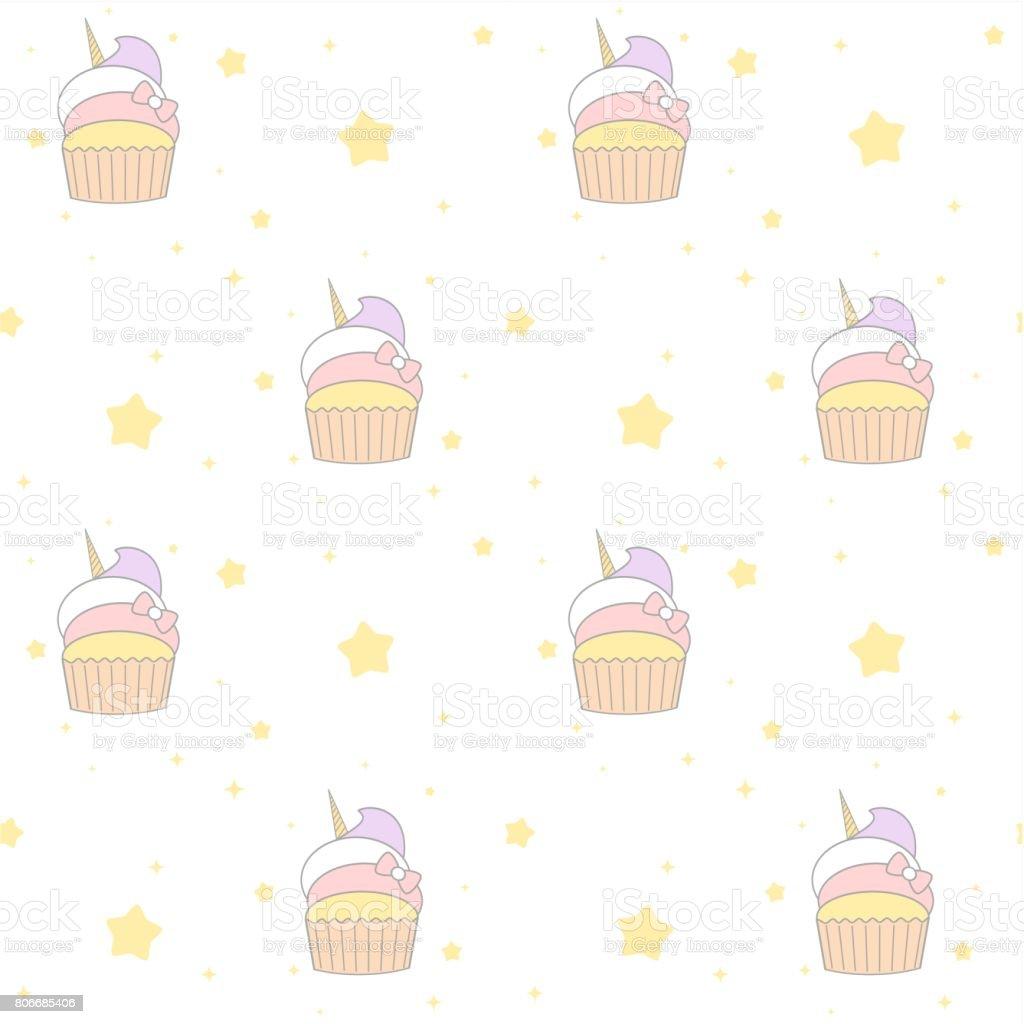 Cute Cartoon Unicorn Cupcake Seamless Vector Pattern Background
