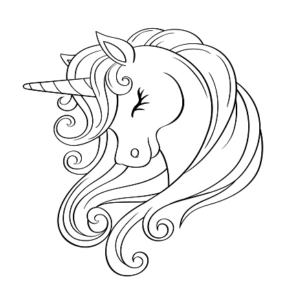 Cute Cartoon Unicorn Head With Rainbow Mane Black And White Vector