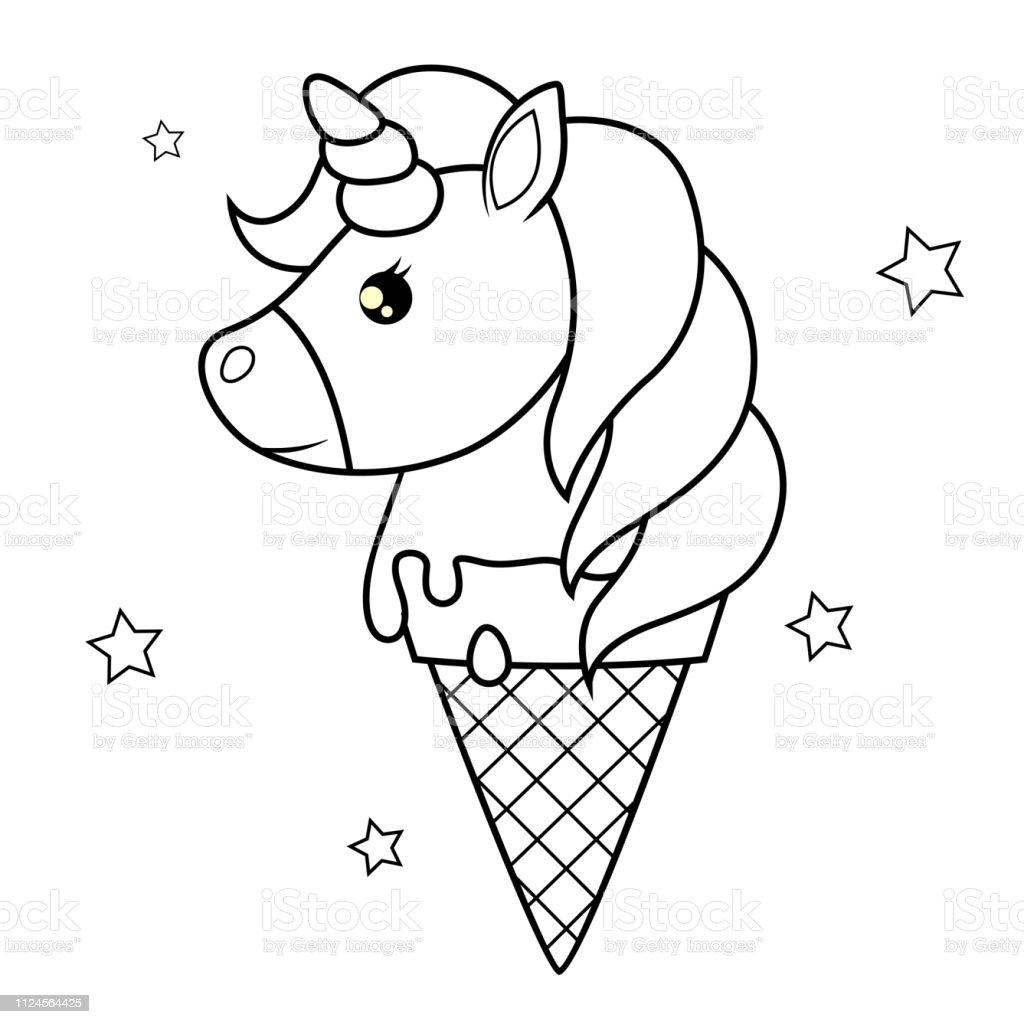 Ilustración De Unicornio De Dibujos Animados Lindo Helado