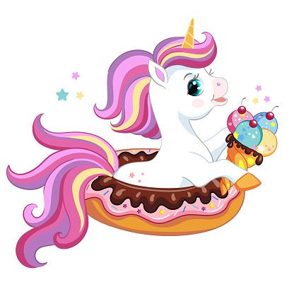 Cute cartoon unicorn on donut vector illustration