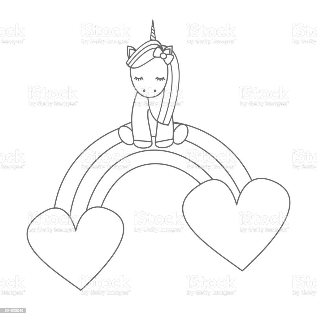 Licorne Dessin Animé Mignon Assis Sur Un Arc En Ciel Avec Coeurs