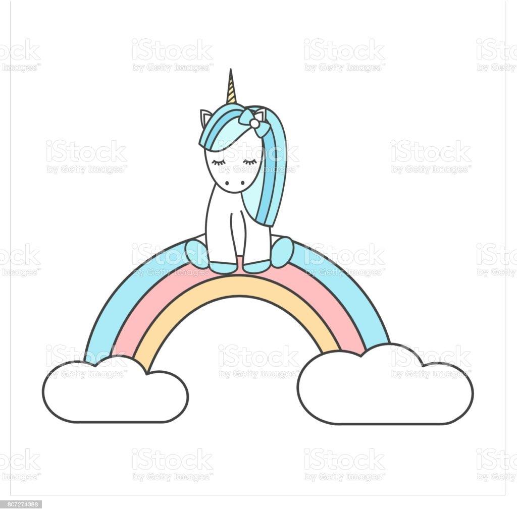 Licorne dessin anim mignon assis sur illustration - Dessin arc en ciel ...