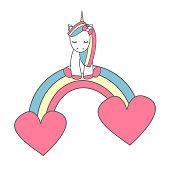 cute cartoon unicorn sitting on colorful rainbow with hearts vector illustration