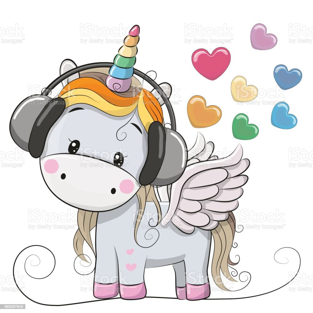 Cute Cartoon Unicorn with headphones cute cartoon unicorn with headphones - arte vetorial de stock e mais imagens de abrir royalty-free
