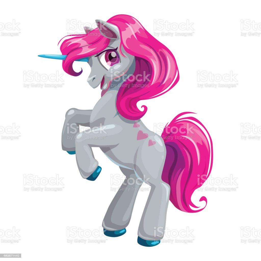 Cute cartoon unicorn with pink hair vector art illustration