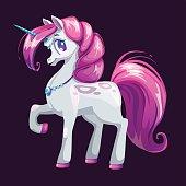 Cute cartoon unicorn with pink hair