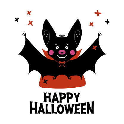 Cute cartoon vampire bat with fangs and red cloak. Doodle cross elements and happy halloween lettering. Halloween greeting card. Isolated on white background. Vector stock illustration.