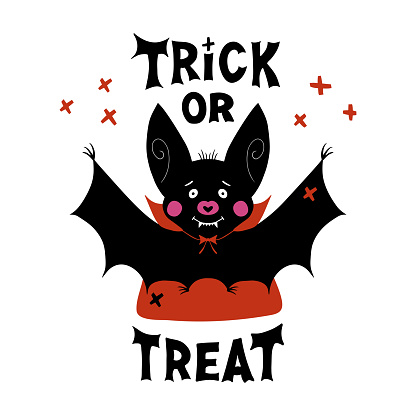 Cute cartoon vampire bat with fangs and red cloak. Doodle cross elements and Trick or treat lettering. Halloween greeting card. Isolated on white background. Vector stock illustration.