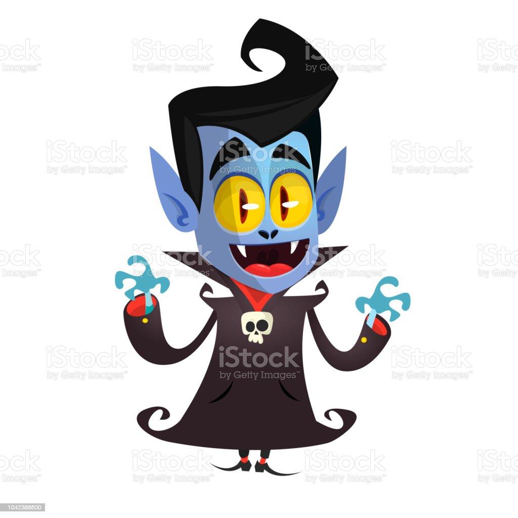 Cute Cartoon Vampire Smiling Vector Illustration Clipart ...