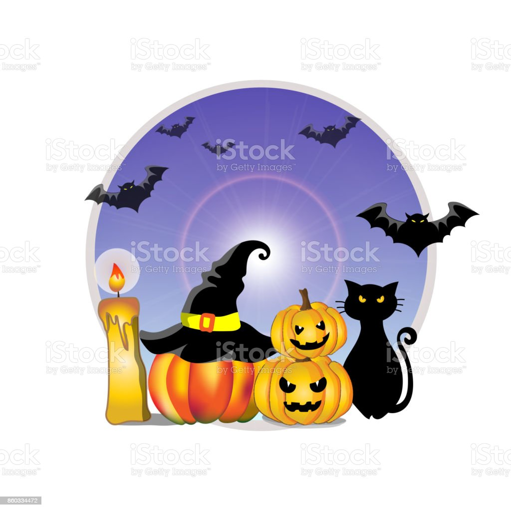 Cute Cartoon Vector And Illustration Of Halloween Pumpkins Lanterns Witch Hat Black Cat Candle And Silhouette Of Flying Bats With Full Moon Light For Isolated And Background Stock Illustration Download Image