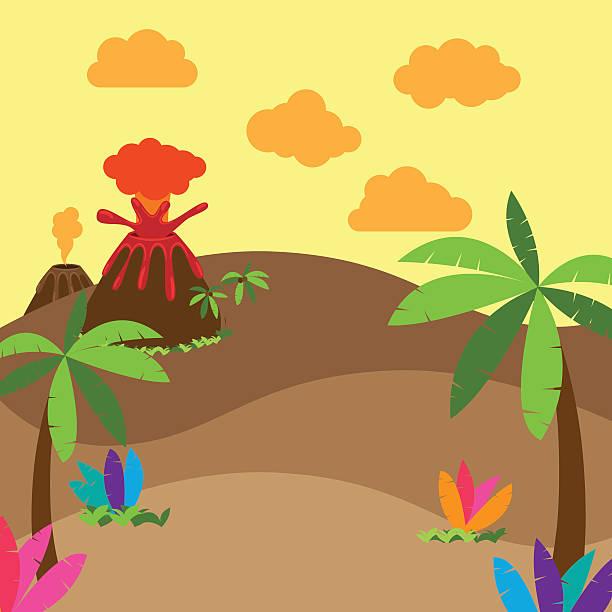 cute cartoon vector background of jungle or dinosaur era landscape - fossilized leaves stock illustrations