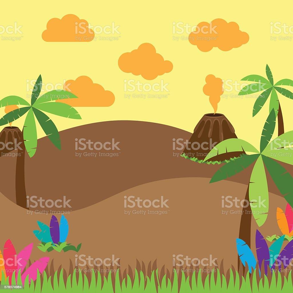 Cute Cartoon Vector Background of Jungle or Dinosaur Era Landscape vector art illustration