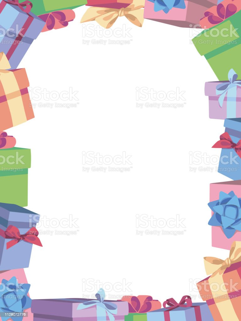 Cute Cartoon Vector Birthday Border Photo Frame Made Of Colorful