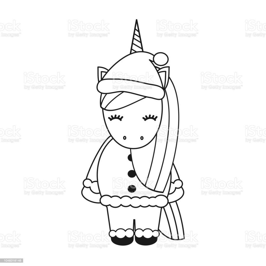 Licorne De Noël Vector Noir Et Blanc Dessin Animé Mignon