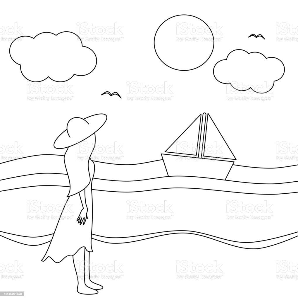 niedliche Cartoon-schwarz-weiß Vektor-Illustration mit Blick auf das Meer an einem sonnigen Tag Mädchen – Vektorgrafik