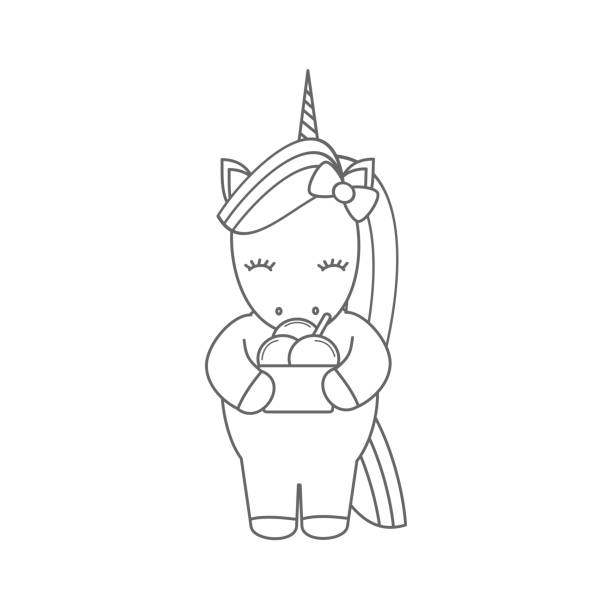 cute cartoon vector black and white unicorn with ice cream illustration for coloring art - ice cream stock illustrations