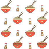 cute cartoon vector bowl with noodle seamless vector pattern background illustration