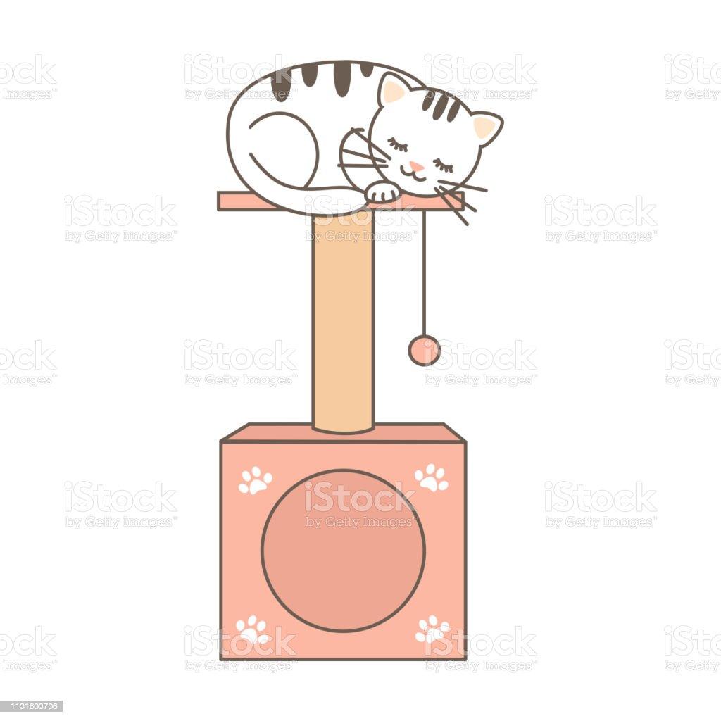 かわいい漫画ベクトル猫の家と素敵な眠っている子猫との