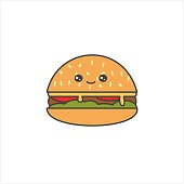 cute cartoon vector cheeseburger isolated on white background