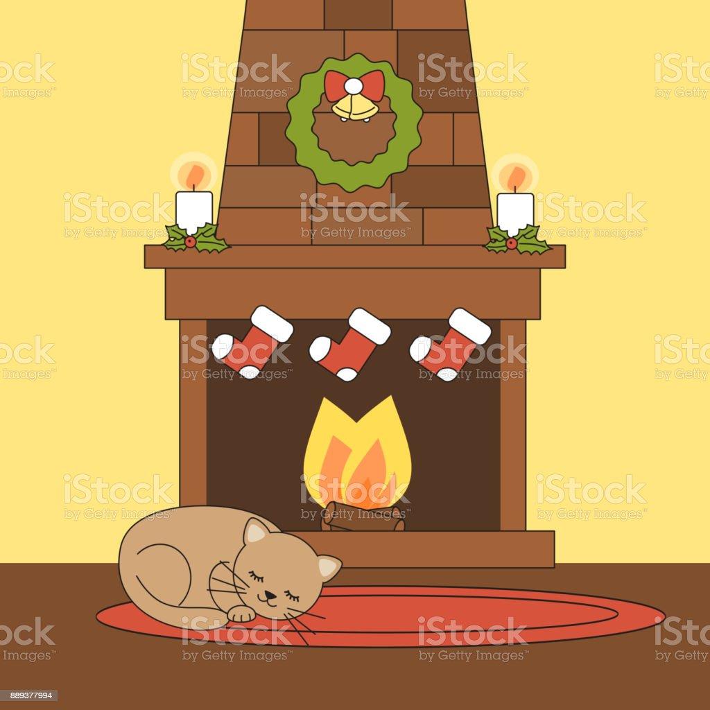 dessin animé mignon vector cheminée de noël avec chat couché endormi