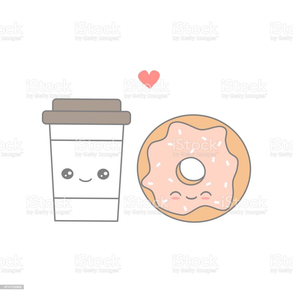 ドーナツと恋のかわいい漫画ベクトル コーヒー イタリアのベクター
