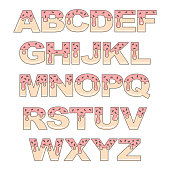 cute cartoon vector donut alphabet letters isolated on white background
