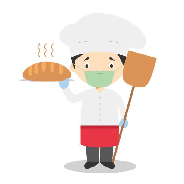 ilustrações de stock, clip art, desenhos animados e ícones de cute cartoon vector illustration of a baker with surgical mask and latex gloves as protection against a health emergency - covid restaurant