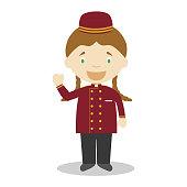 Cute cartoon vector illustration of a bellhop. Women Professions Series