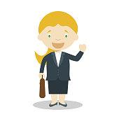 Cute cartoon vector illustration of a businesswoman. Women Professions Series