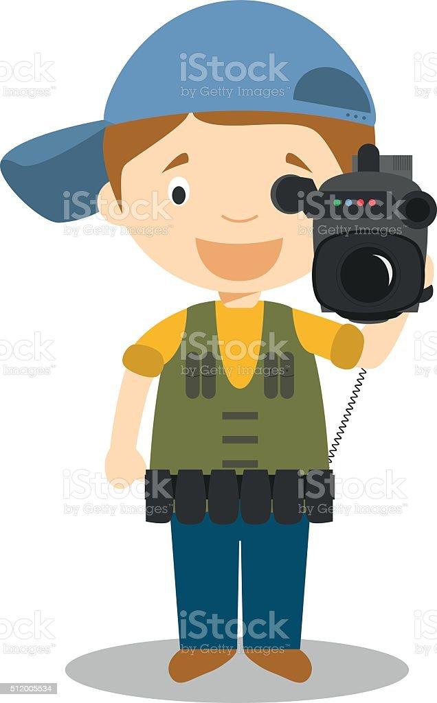 Cute cartoon vector illustration of a cameraman vector art illustration