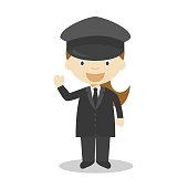 Cute cartoon vector illustration of a chauffeur. Women Professions Series