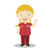 Cute cartoon vector illustration of a clerk or cashier. Women Professions Series
