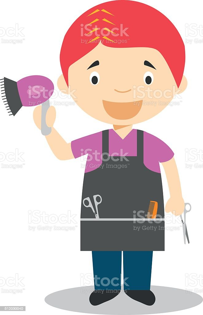 Cute cartoon vector illustration of a hairdresser vector art illustration