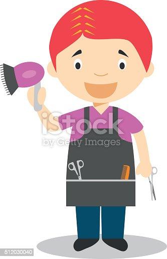 Cute Cartoon Vector Illustration Of A Hairdresser Stock ...