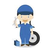Cute cartoon vector illustration of a mechanic. Women Professions Series