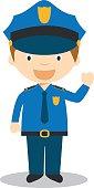 Cute cartoon vector illustration of a policeman